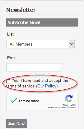 subscriber widget tos checkbox